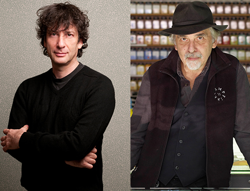 [Neil Gaiman in conversation with Art Spiegelman] Neil Gaiman, photo by Kimberly Butler. Art Spiegelman, photo by Enno Kapitza-Agentur Focus