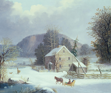 [Winter Songfest] New England Farm by a Winter Road, 1854, George Henry Durrie. Private Collection/Photo copyright Christie's Images/Bridgeman Images