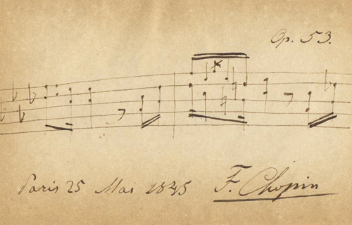 [Panel OneChopin: Real and Imagined] Autographed musical quotation from the Polonaise Op. 53, signed by Chopin on May 25, 1845; Wikimedia Commons
