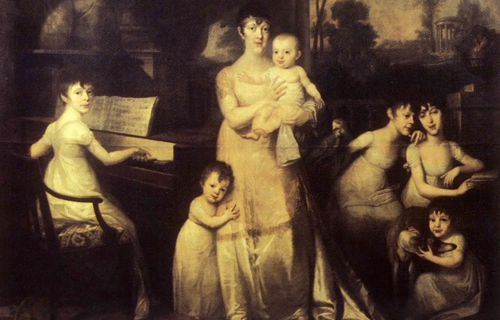 [Program FourThe Piano in the 19th Century] Portrait of Anna Bohomolców Borchów with six children, Józef Peszka; Wikimedia Commons