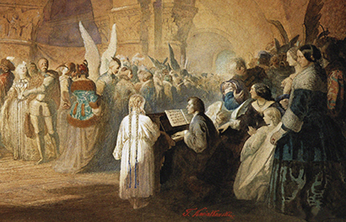 [Special EventBard Music Festival Gala Dinner ] Chopin's Polonaise (Ball in Hotel Lambert in Paris), 1859 by Teofil Kwiatkowski. Culture images/Lebrecht