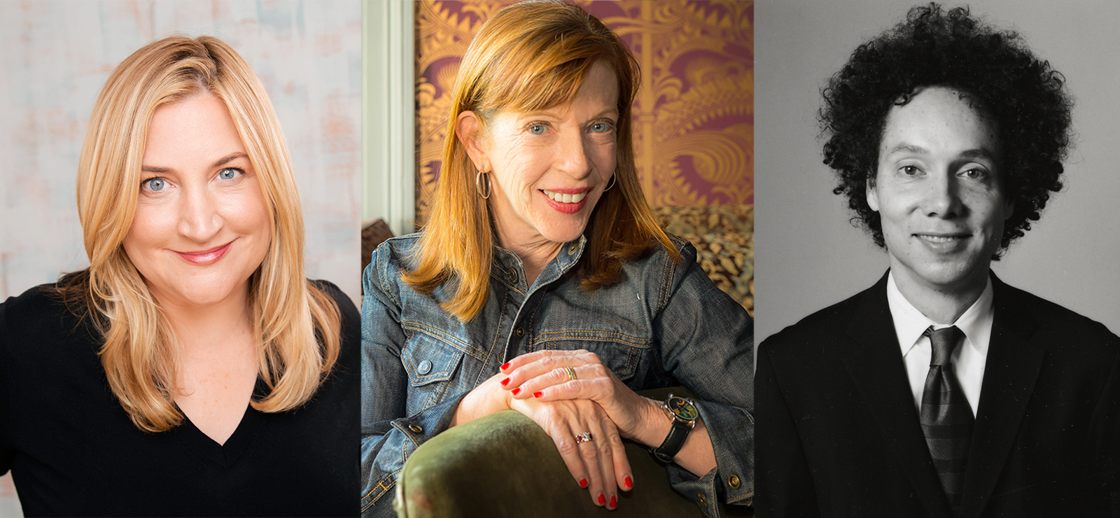 [Susan Orlean and Sarah Thyre's CrybabiesA live podcast with Malcolm Gladwell] Susan Orlean by Noah Fecks; Malcolm Gladwell by Brooke Williams; Sarah Thyre by Mindy Tucker