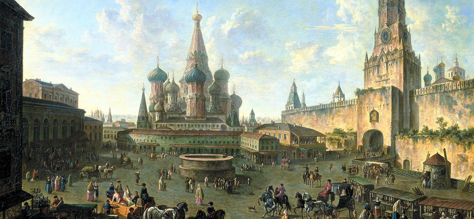 "[Program FiveMoscow/St. Petersburg] ""Red Square in Moscow"" by Fedor Alekseev (1801); Wikimedia Commons."
