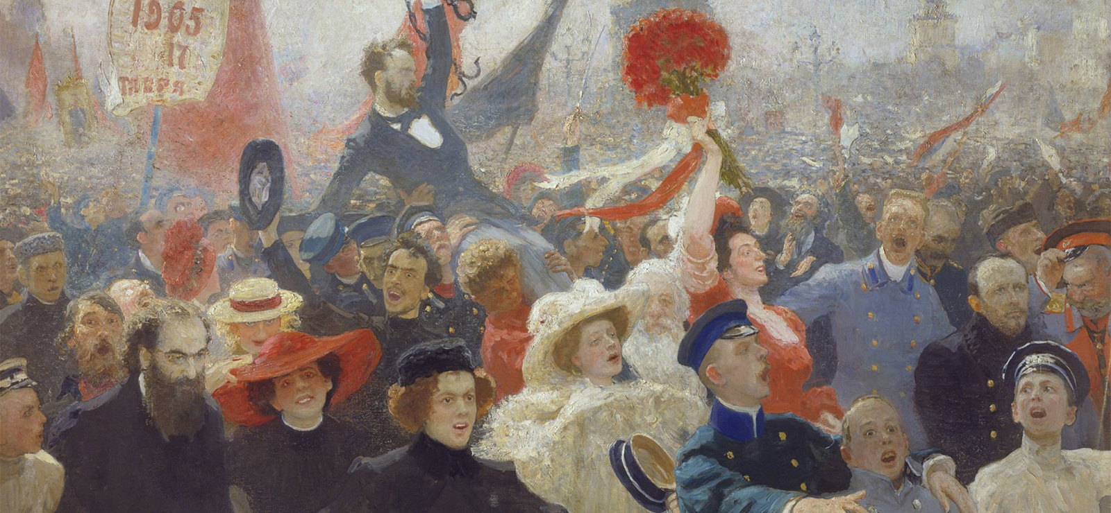 [Panel TwoRussia Under Western Eyes] Demonstration on October 17, 1905 by Ilya Repin. Wikimedia Commons