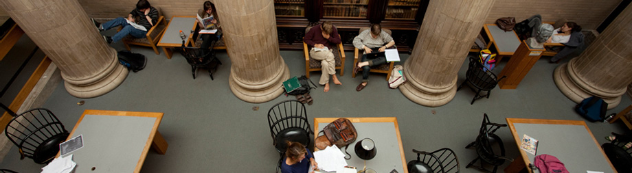 The hub of the library complex on campus is a hive of intellectual activity.