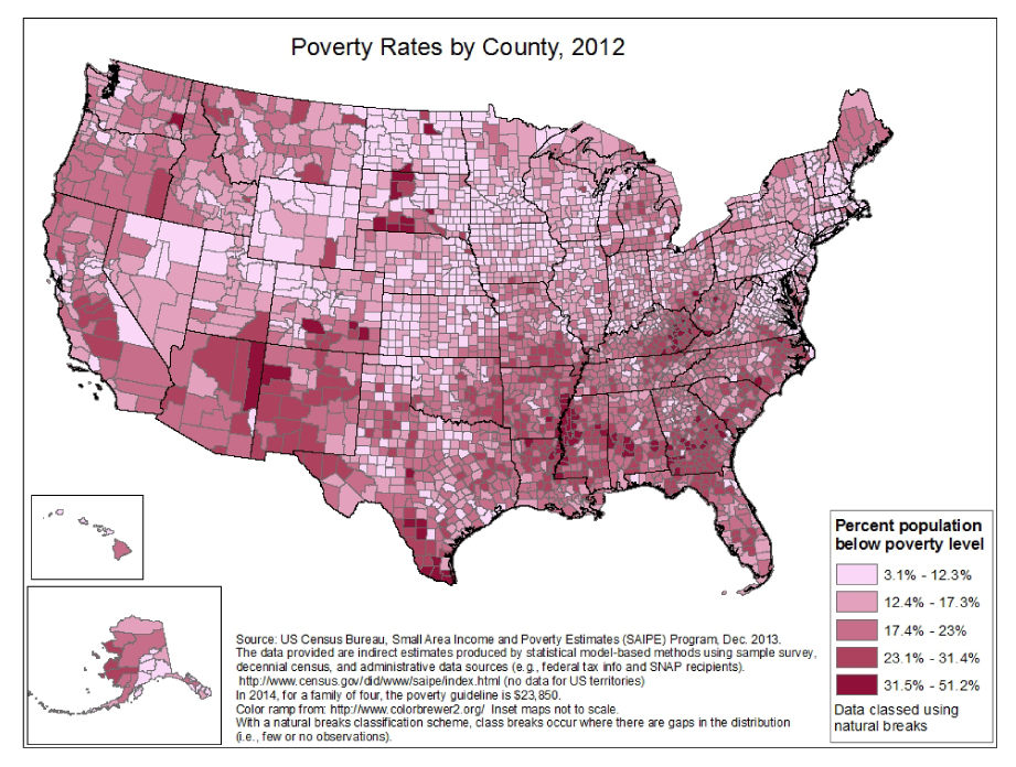 Poverty By County, Image from the Centers for Disease Control and Prevention