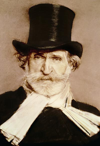 Portrait of Giuseppe Verdi (1813-1901) (crayon on paper), Boldini, Giovanni (1842-1931)/Private Collection/The Bridgeman Art Library