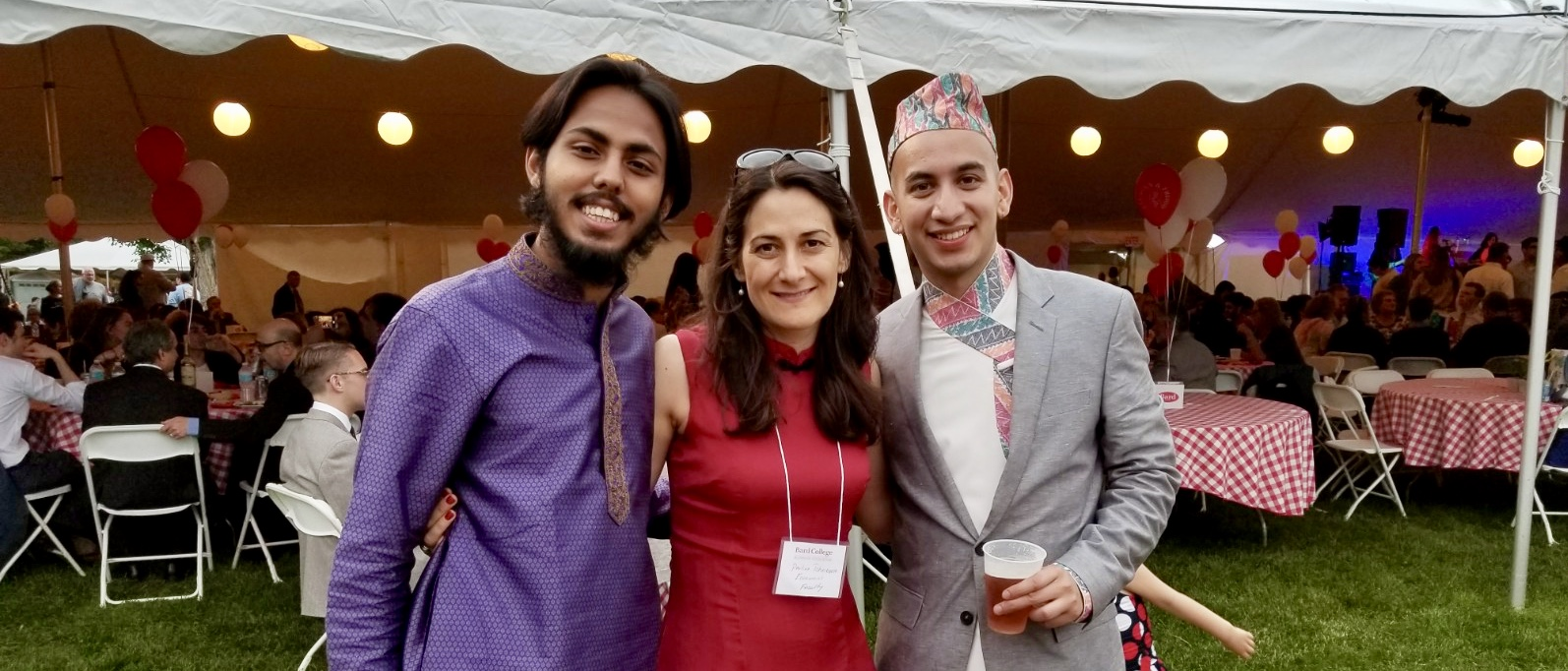 Prof. Pavlina Tcherneva with graduates Piyush Kuthethoor '17 and Pranay Panday '17 at the economic/finance alumni reception after commencement.