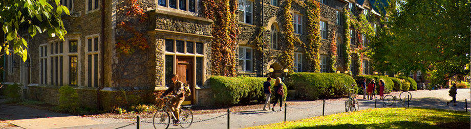 Striking architecture—both contemporary and classic—defines Bard's campus. The historic Stone Row bustles with students in transit. Photo by Peter Aaron '68/Esto