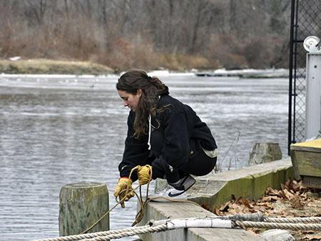 Volunteering on the Hudson River Sloop Clearwater. Photo by Joe Fitzgerald