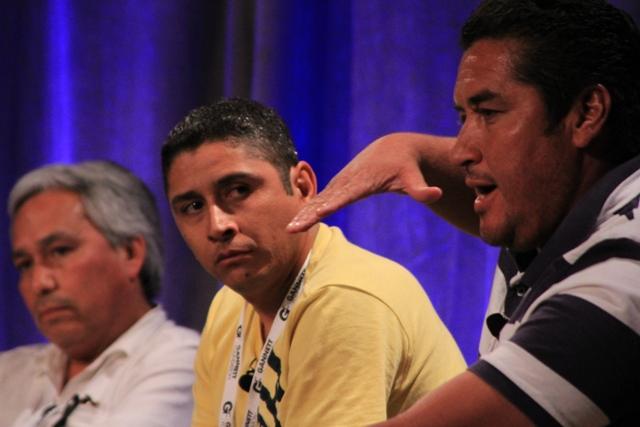 A México no vuelven. De izquierda a derecha: Emilio Gutiérrez Soto, Ricardo Chávez Aldana y Alejandro Hernández Pacheco. Foto de José Luis Castillo, Semana News, Houston, TX