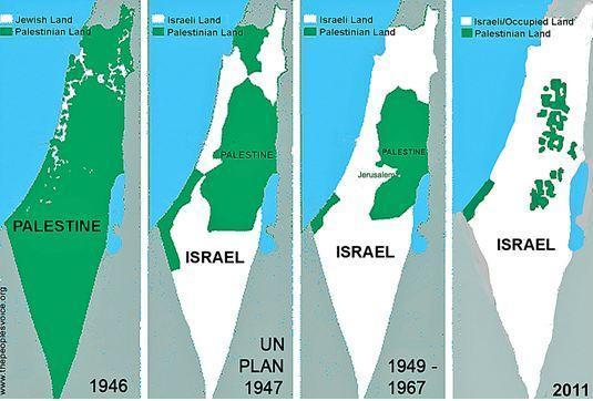 Mapa del avance de Israel en Palestina. Fuente: http://www.ameu.org