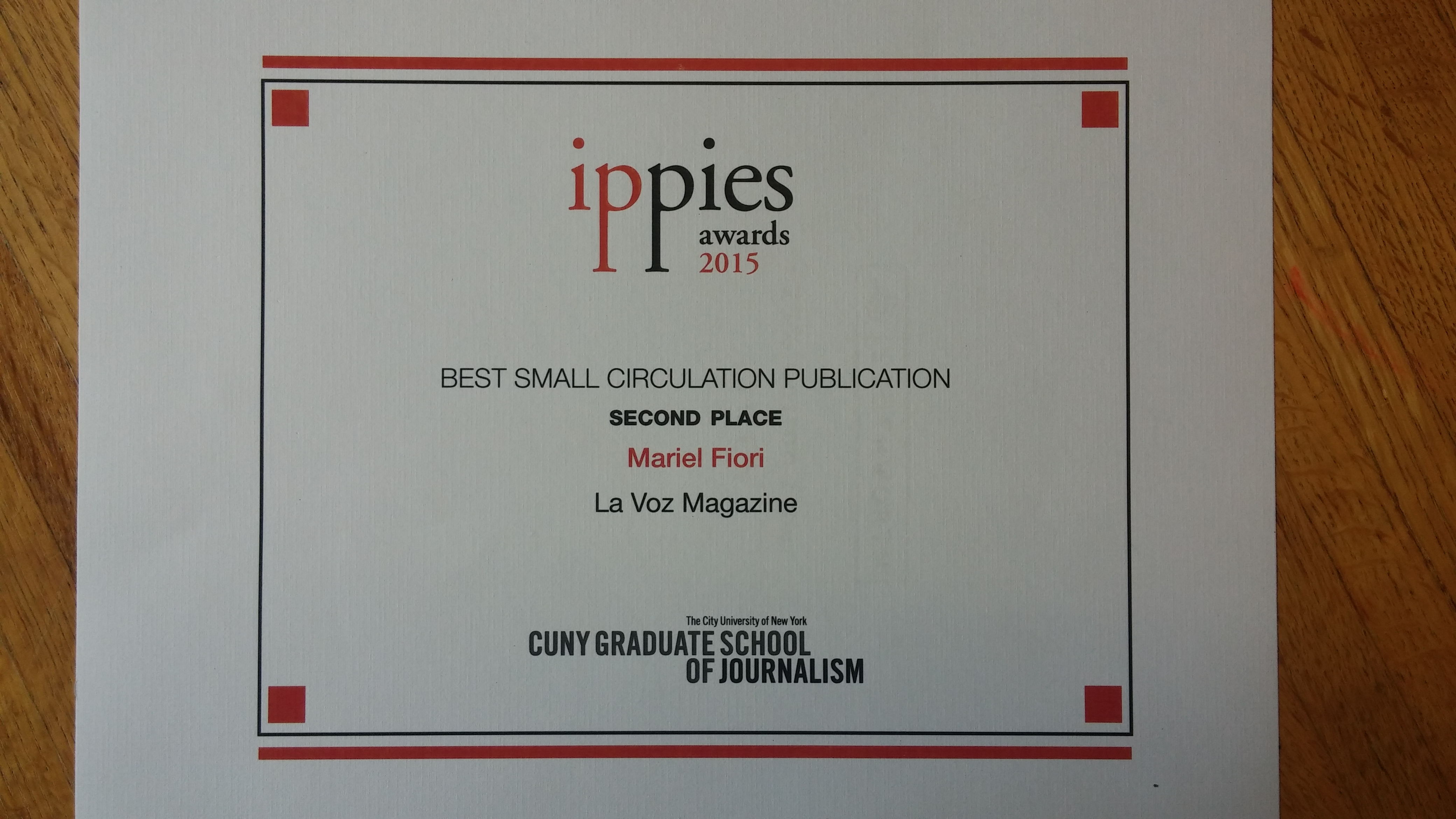 And an Ippie award goes to La Voz magazine!