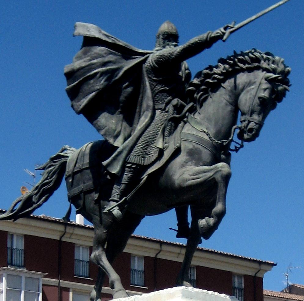 Estatua de El Cid en la cabecera del puente de San Pablo, en Burgos