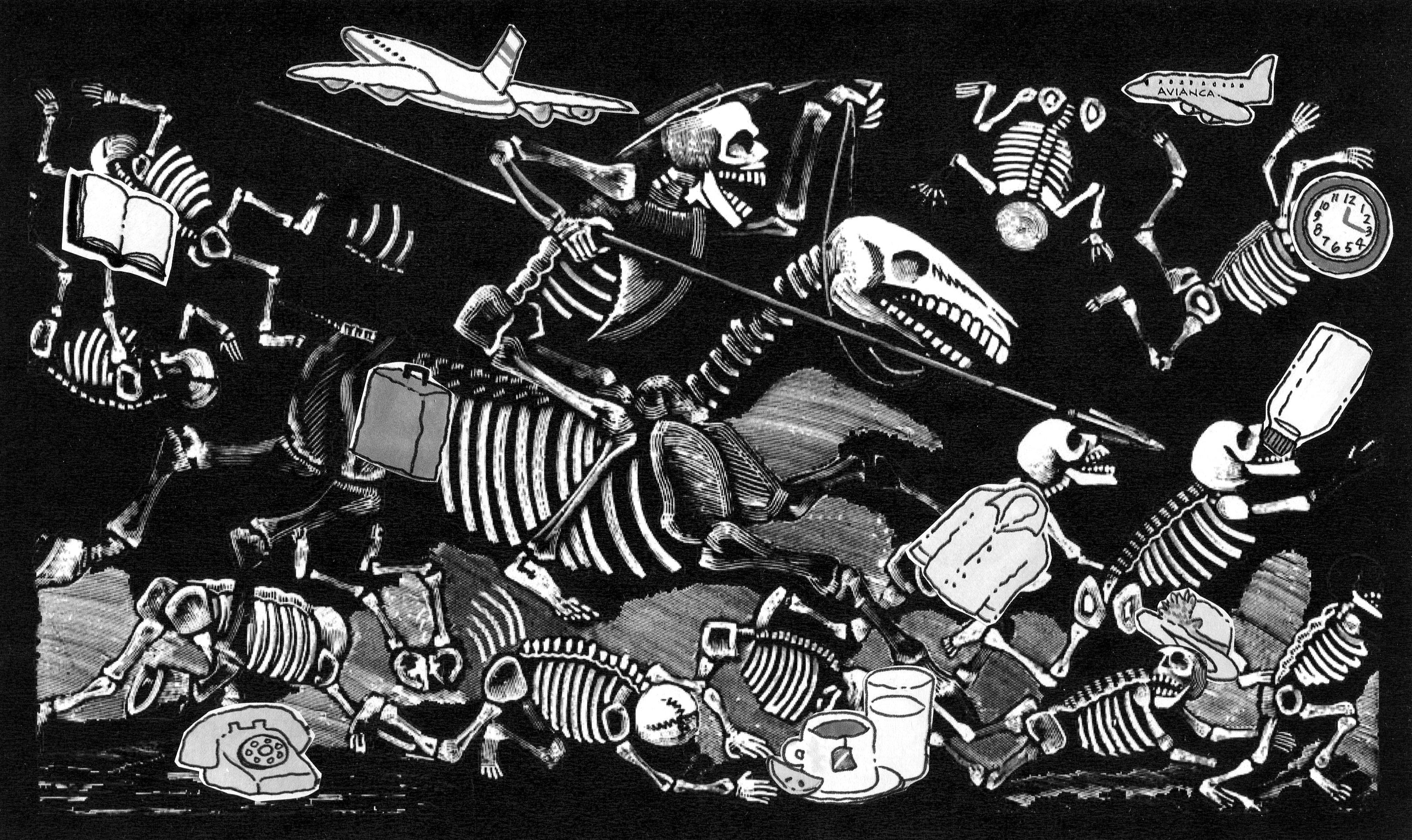 En esta imagen hay diez objetos que no pertenecen al grabado original de Posada, ¿sabes cuáles son?
