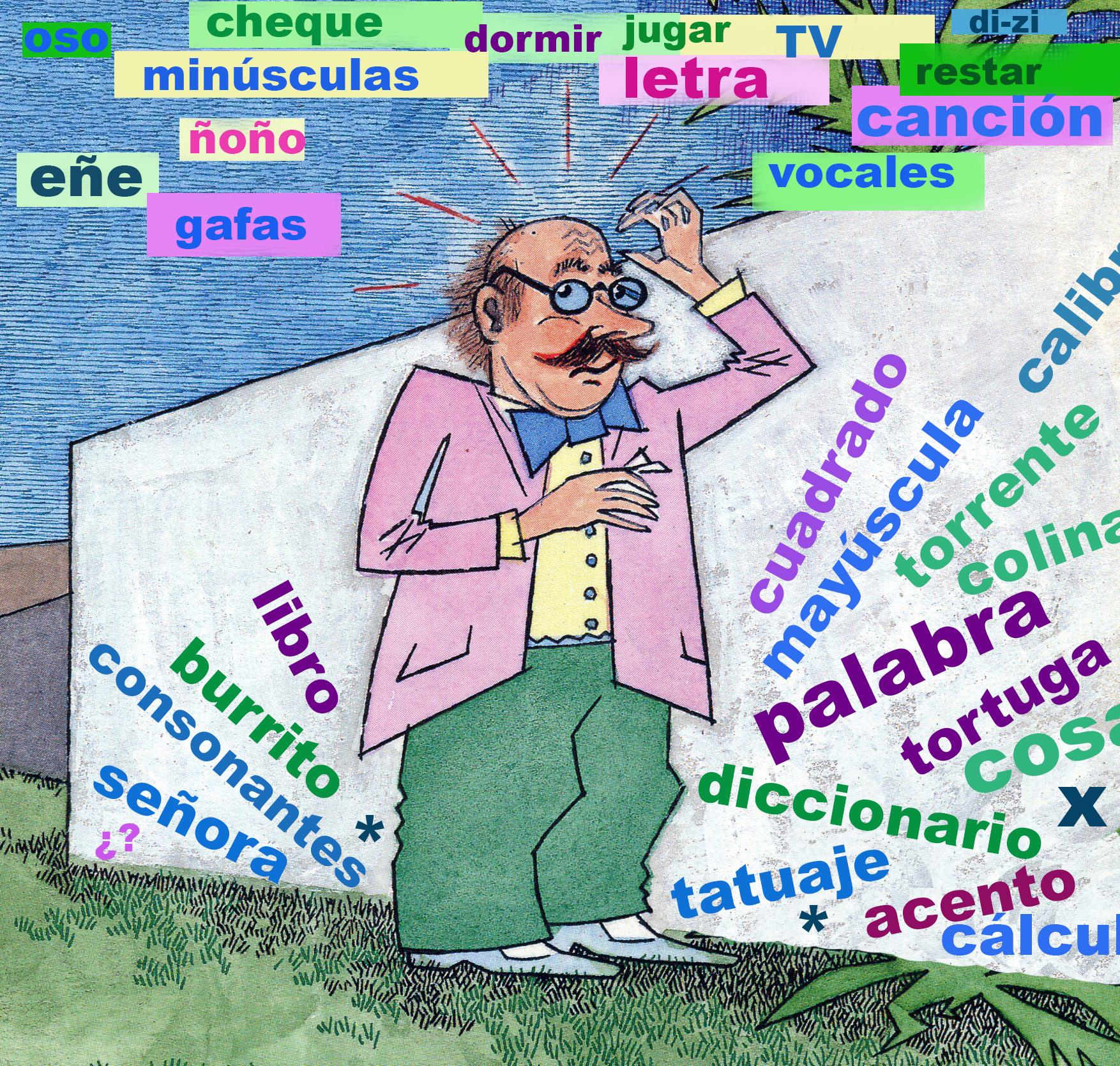 <strong>El l&iacute;o de palabras del profesor DiZi:</strong> Ay&uacute;dalo a encontrar las 10 palabras relacionadas con el deletreo. Ilustraci&oacute;n de Mar&iacute;a Cristina Brusca
