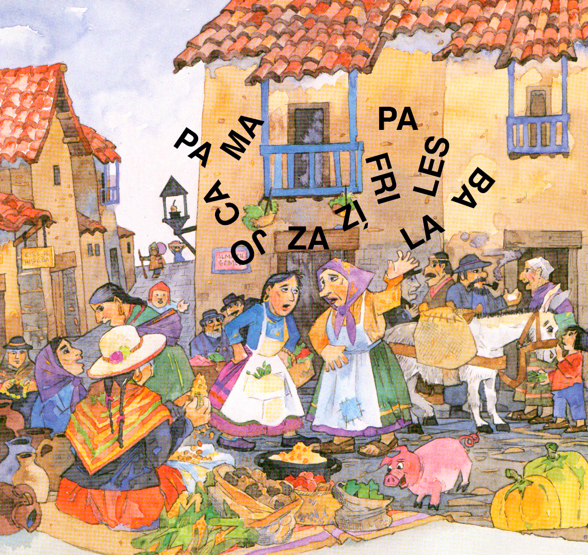 <em>En esta feria del norte de Argentina, Carmen y Florinda no pueden recordar qu&eacute; comprar. &iexcl;Las s&iacute;labas de sus palabras se separaron! &iquest;puedes ayudarlas a juntar las 4 palabras?</em><br />&nbsp;
