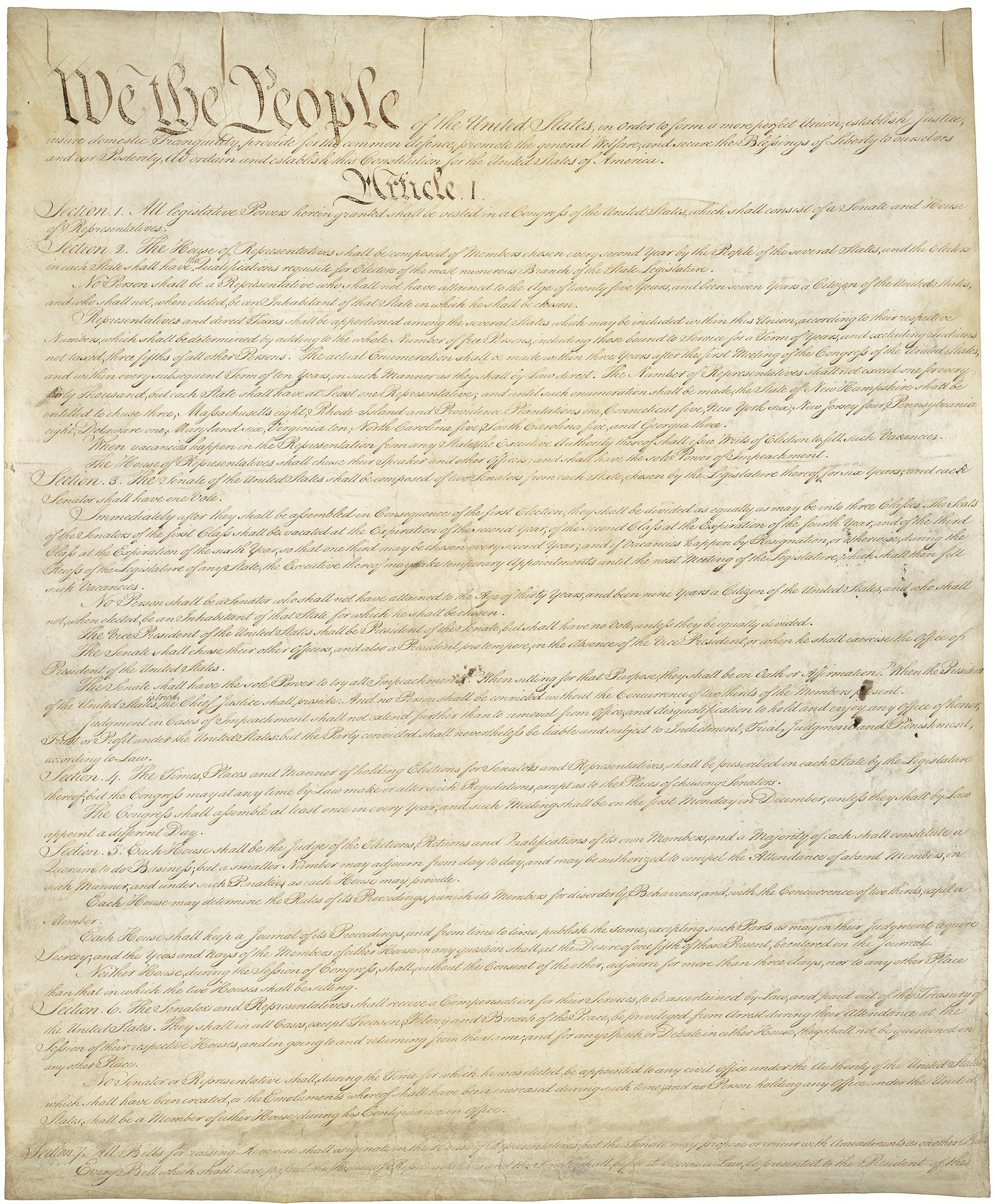 Foto: el Preámbulode la Constituciónde los Estados Unidos