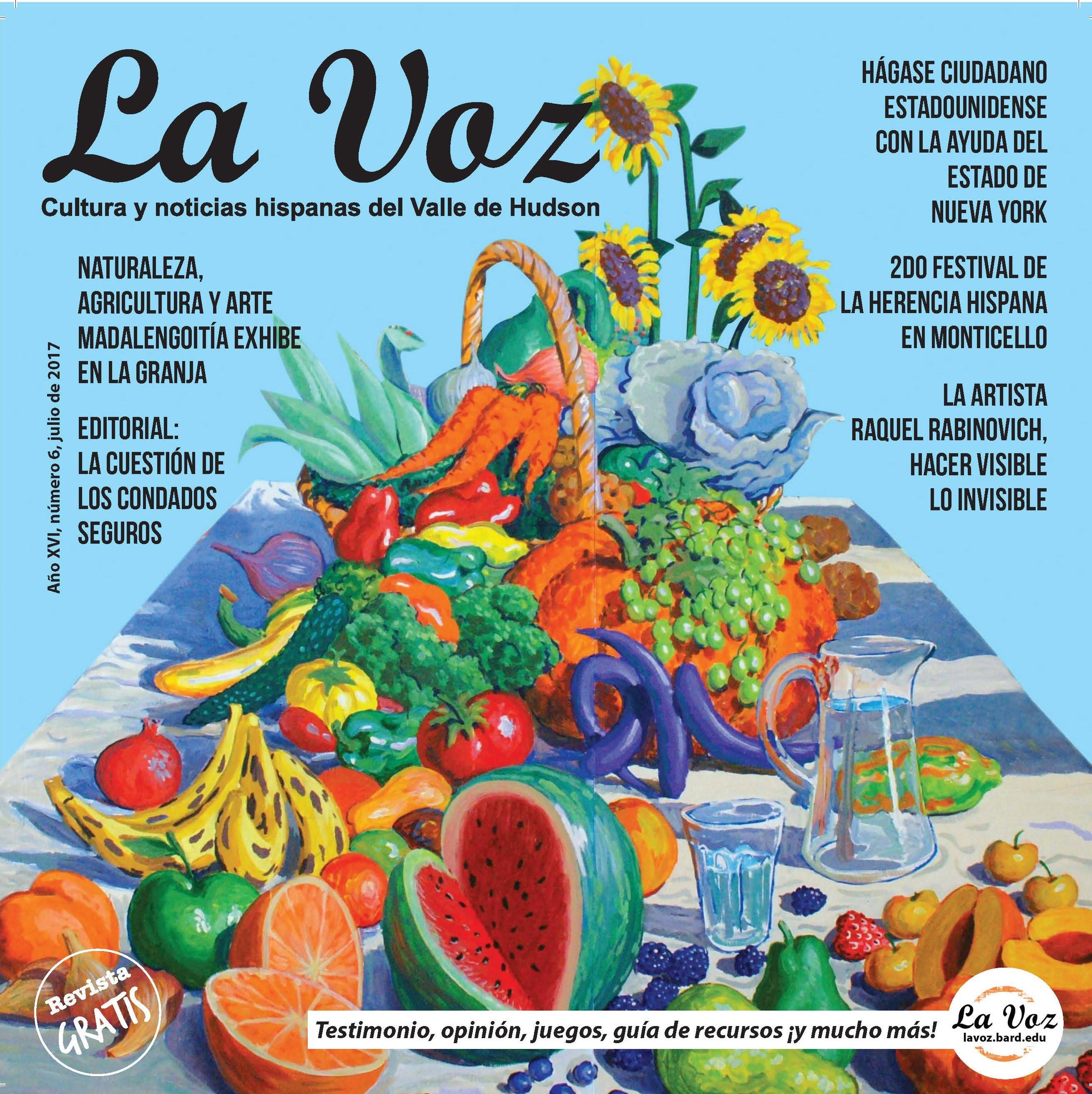 Portada de La Voz de julio 2017, imagen creada por el artista Néstor Madalengoitía